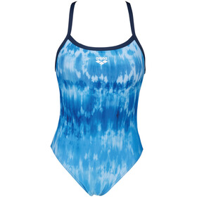 arena Tiedye Stripes Challenge Back One Piece Swimsuit Women, azul